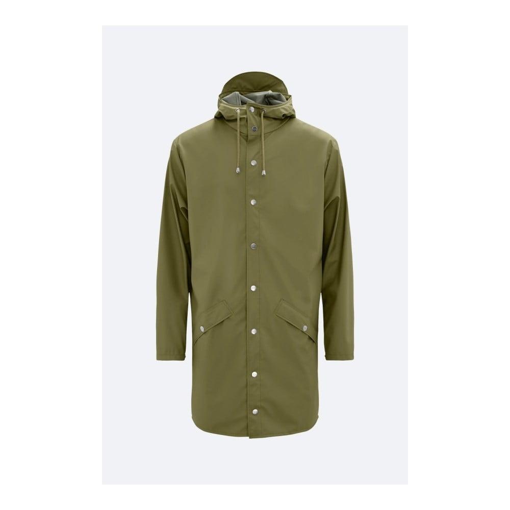 Zelená unisex bunda s vysokou vodoodolnosťou Rains Long Jacket, veľkosť XS/S
