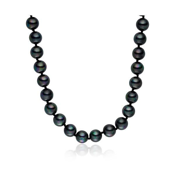 Tmavosivý perlový náhrdelník Pearls of London Mystic, dĺžka 45 cm