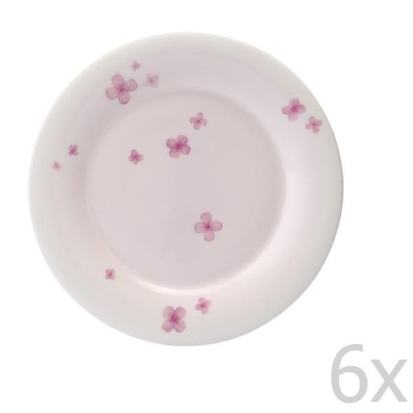Sada 6 tanierov z kostného porcelánu Petal, 21 cm