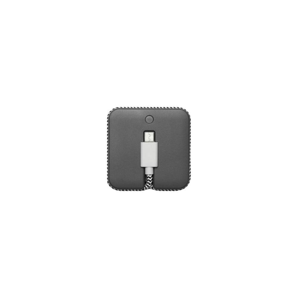 Sivá powerbanka s nabíjacím Micro USB káblom Native Union Jump Cable, dĺžka 45 cm