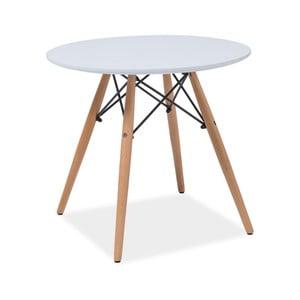 Biely okrúhly odkladací stolík s nohami z kaučukového dreva Signal Soho, ⌀60cm