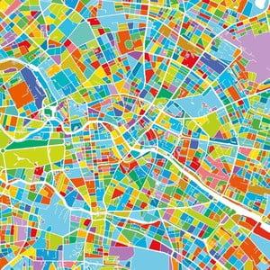 Obraz Homemania Maps Berlin, 60×60 cm