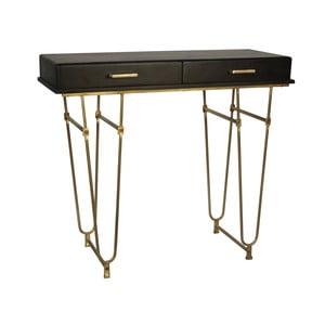 Čierny konzolový stolík z mangového dreva s detailmi v zlatej farbe Miloo Home Savoy