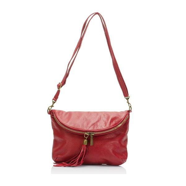 Tmavočervená kožená kabelka Lisa Minardi Renae
