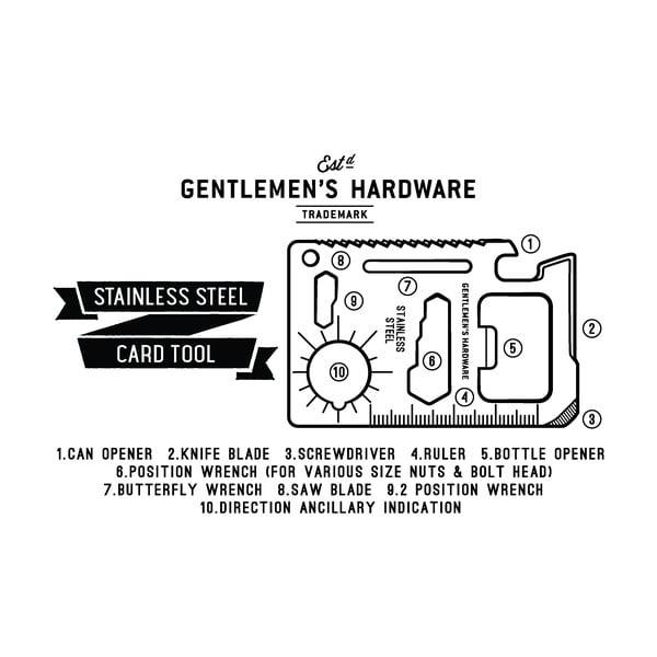 Multifunkčný nástroj vo veľkosti kreditky Gentlemen's Hardware