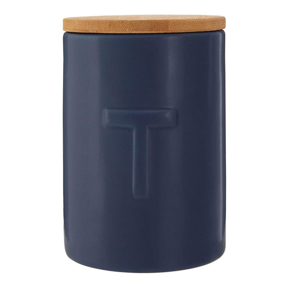 Tmavomodrá dóza na čaj s bambusovým vrchnákom Premier Housewares Fenwick