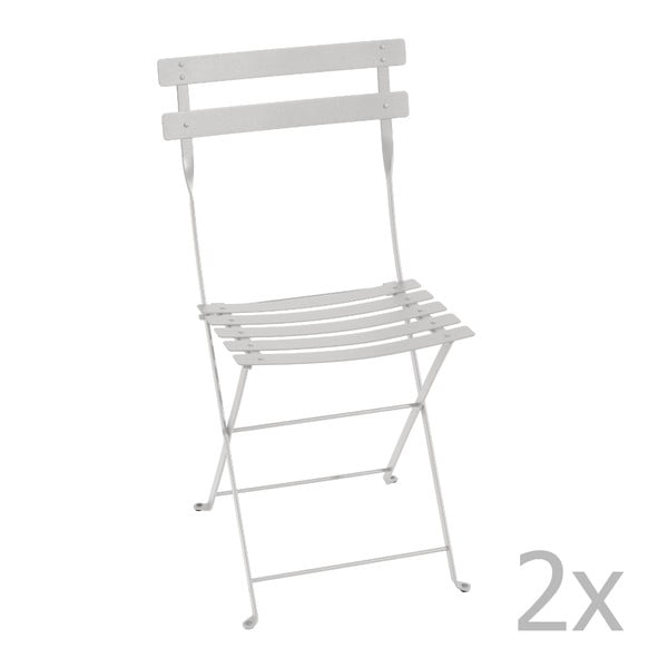 Sada 2 svetlosivých skladacích stoličiek Fermob Bistro