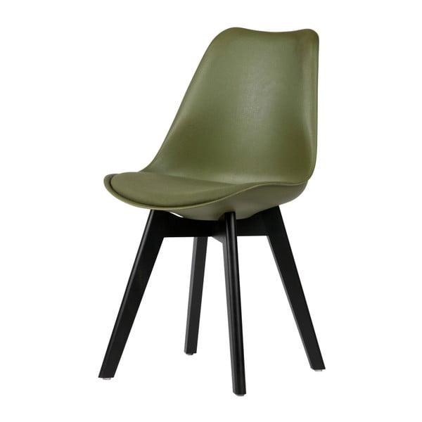 Sada 2 tmavozelených stoličiek s nohami z borovicového dreva De Eekhoorn Stan