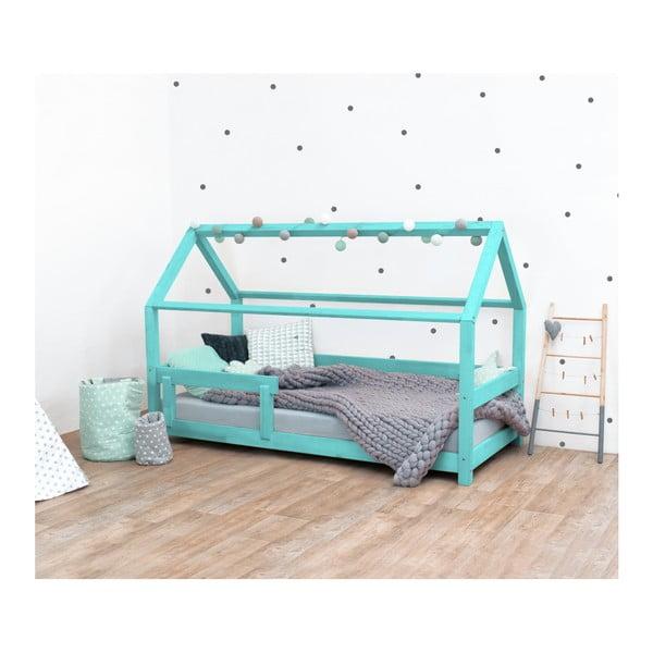Tyrkysová detská posteľ s bočnicami zo smrekového dreva Benlemi Tery, 80×160 cm