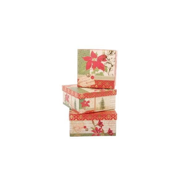 Sada 3 úložných krabíc Christmas Rose