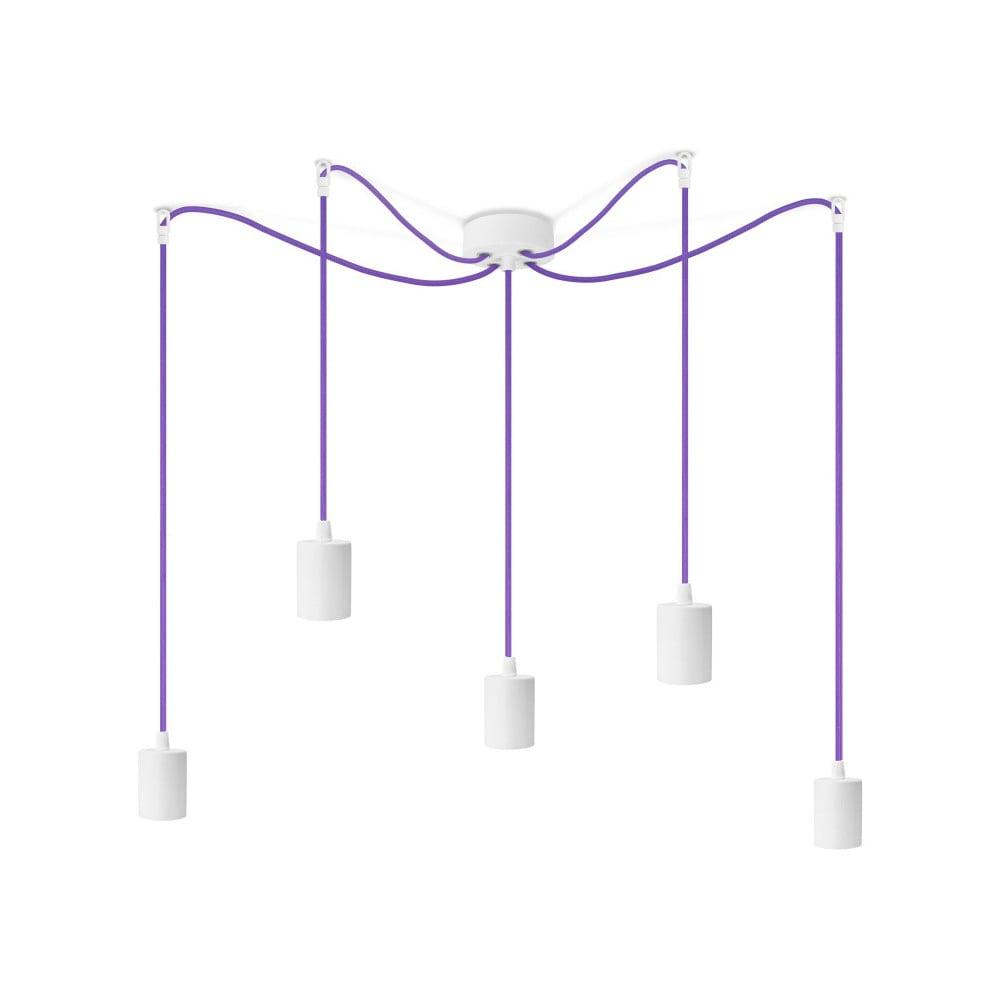 Biele závesné svietidlo s 5 fialovými káblami Bulb Attack Cero
