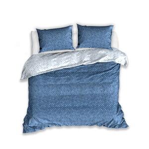 Modré bavlnené obliečky na dvojlôžko s 2 obliečkami na vankúš CARBOTEX Lia, 160 × 200 cm