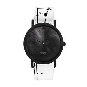 Čierne unisex hodinky s bielo-čiernym remienkom South Lane Stockholm Avant Diffuse