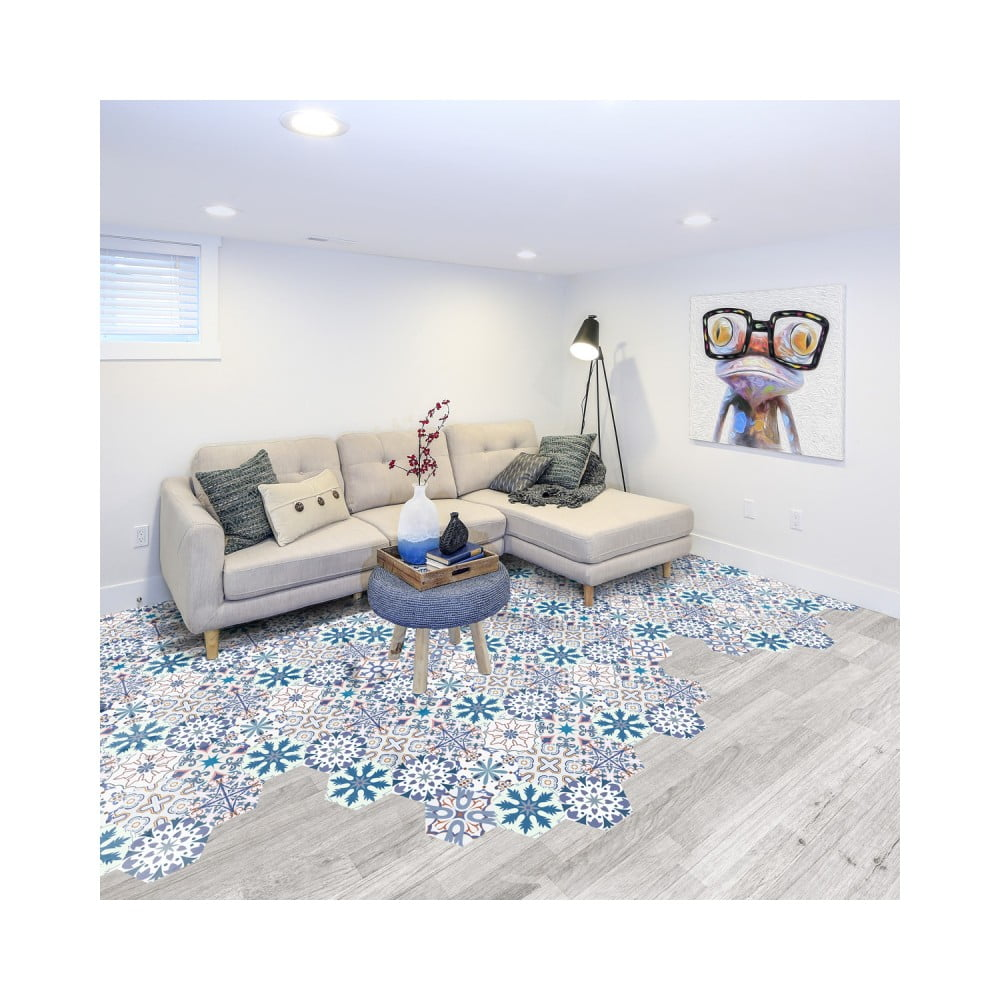 Sada 10 samolepiek na podlahu Ambiance Floor Stickers Hexagons Tisila, 40 × 90 cm