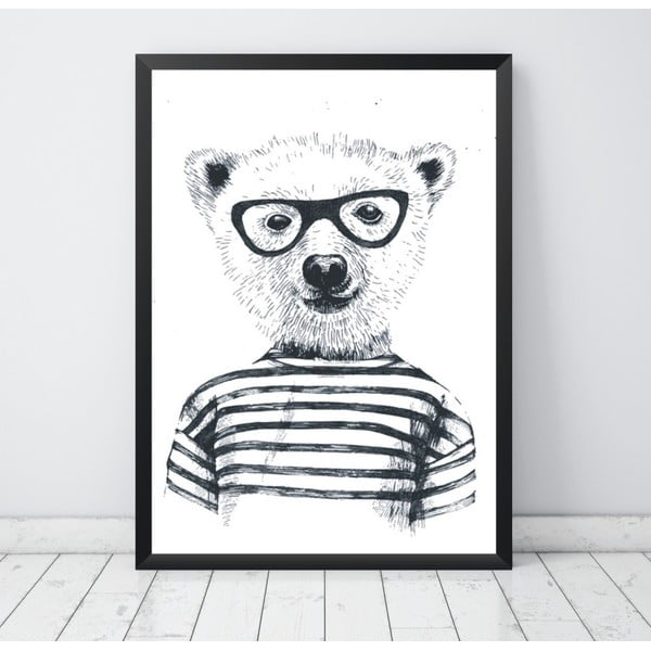 Plagát Nord & Co Hipster Bear, 21 x 29 cm