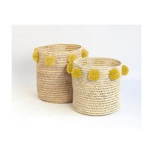 Sada 2 úložných košíkov z palmových vlákien so žltými dekoráciami Madre Selva Milo Basket