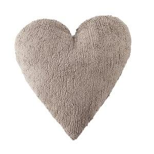 Béžový bavlnený ručne vyrobený vankúš Lorena Canals Heart, 47 x 50 cm