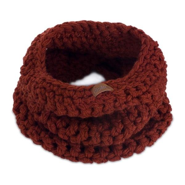 Hnedý ručne háčkovaný kruhový šál DOKE Marsala