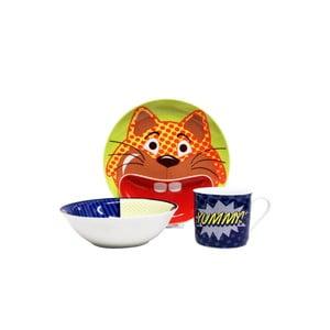 Detský raňajkový set z kostného porcelánu Silly Design Pop cat