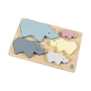Detské drevené puzzle Sebra Rhino