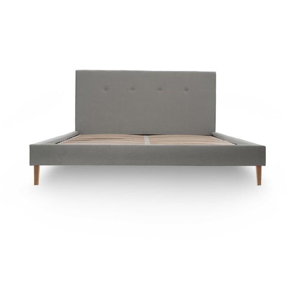 Svetlosivá posteľ VIVONITA Kent 140x200cm, svetlé nohy