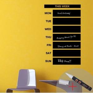 Tabuľová samolepka Weekly Calendar + biela fixa