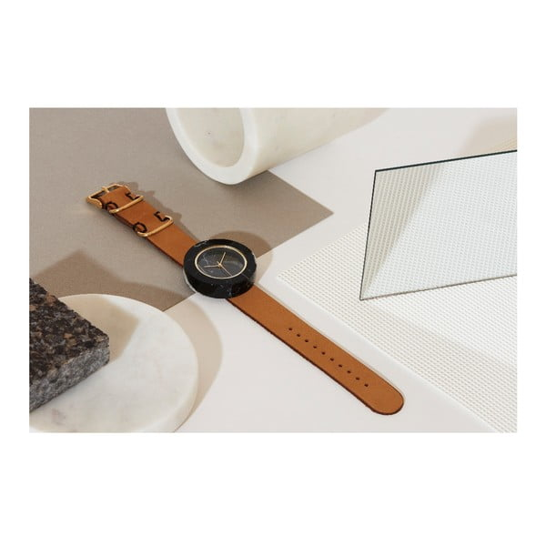 Čierne mramorové hodinky s hnedým remienkom Analog Watch Co. Marble