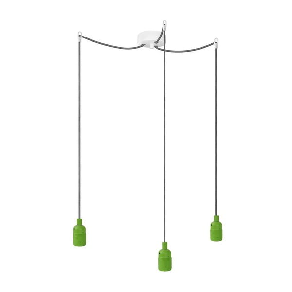 Tri závesné káble Uno, zelená / černoílá / biela