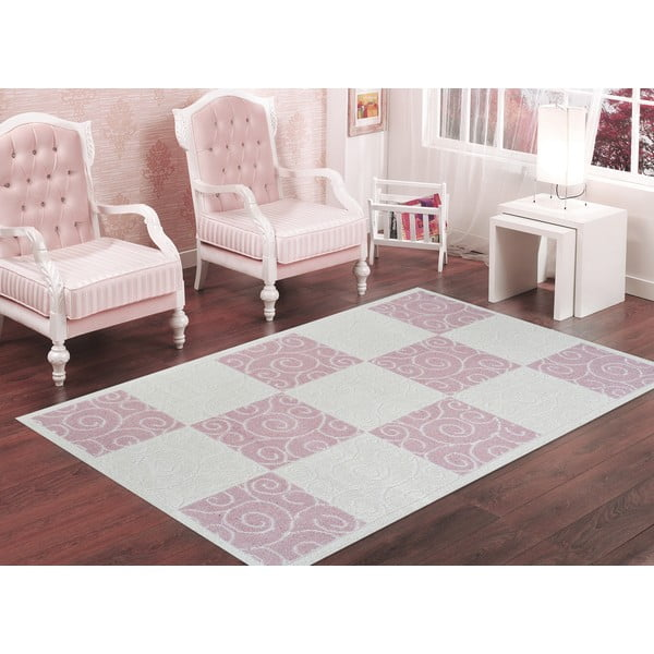 Pudrovoružový odolný koberec Vitaus Patchwork, 120x180cm