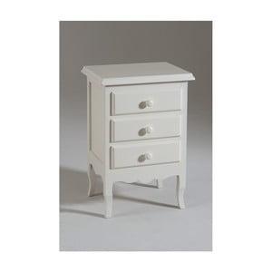 Biely drevený nočný stolík s 3 zásuvkami Castagnetti Mare