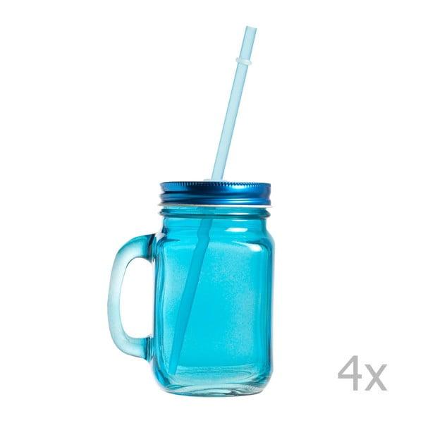 Sada 4 pohárov s viečkom a slamkou Strawie