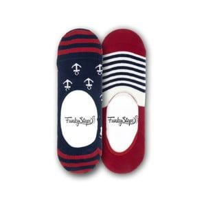 Sada 2 párov nízkych ponožiek Funky Steps Stripes Anchor, veľkosť 39 - 45