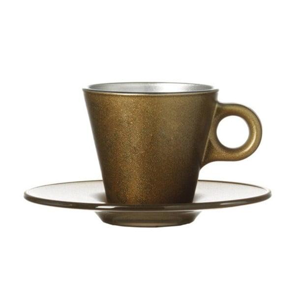 Zlatý metalický hrnček na espresso meniaci farbu LEONARDO Ooh! Magico