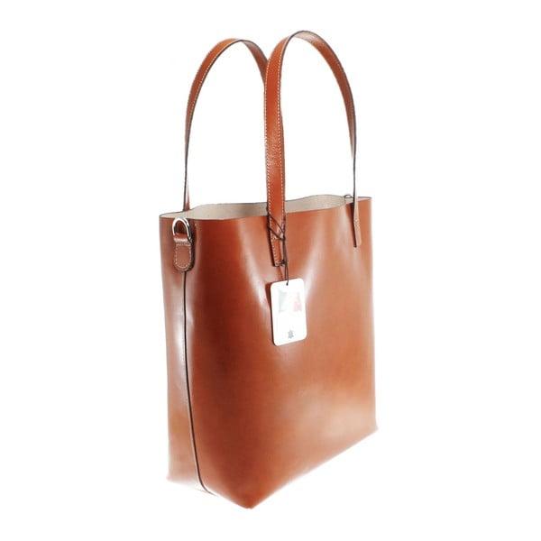 Hnedá kožená taška Chicca Borse Greta