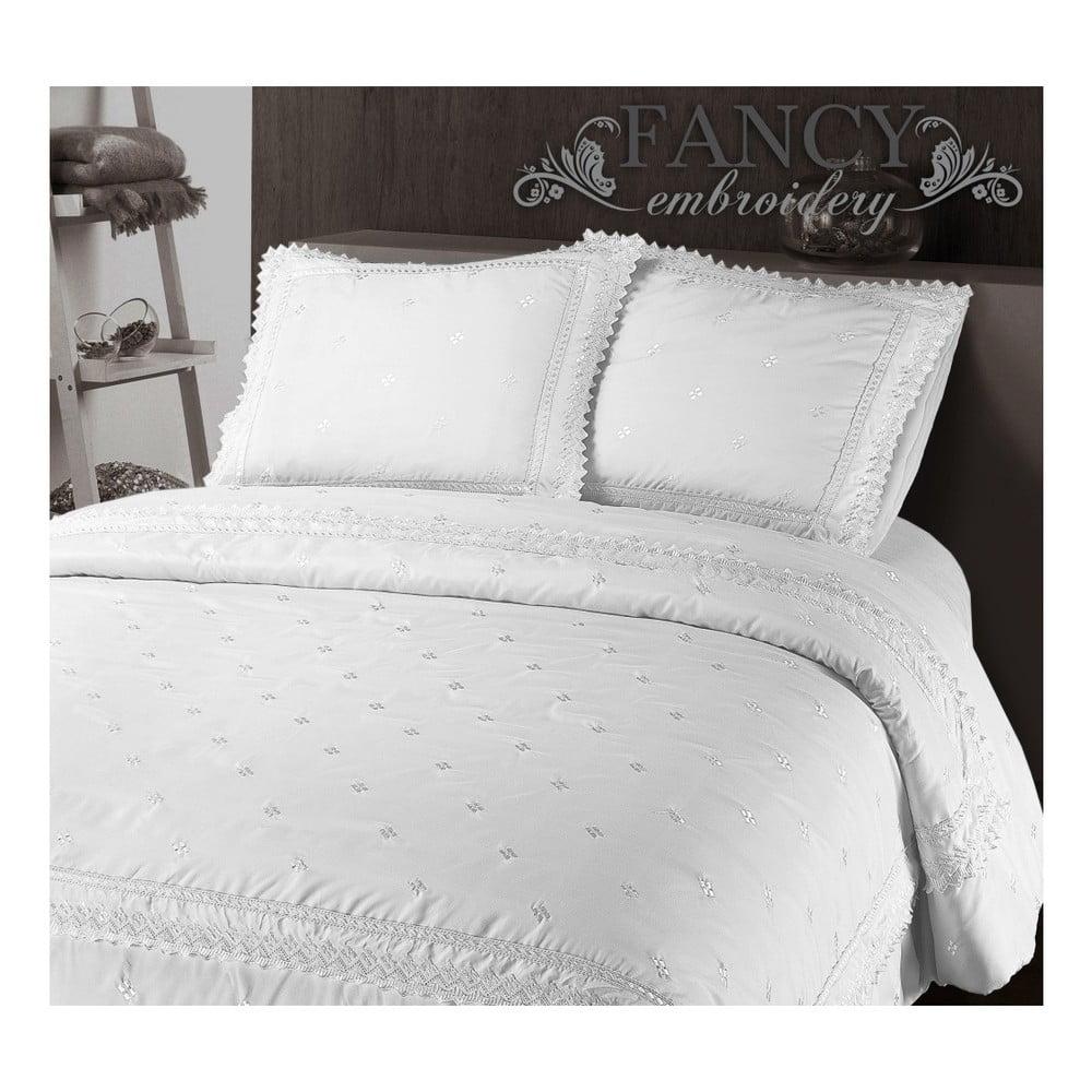 Biele obliečky z mikroperkálu Sleeptime Rio, 140 × 220 cm