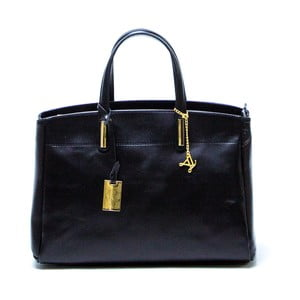 Tmavomodrá kožená kabelka Francesca