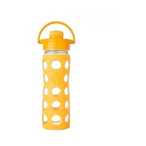 Sklenená fľaša na vodu so silikónovým chráničom Lifefactory Flip Collegiate, 475 ml