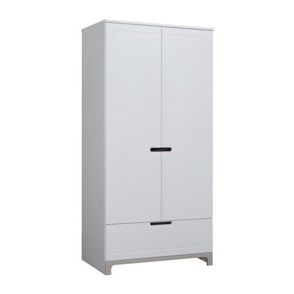 Bielo-sivá dvojdverová šatníková skriňa Pinio Mini