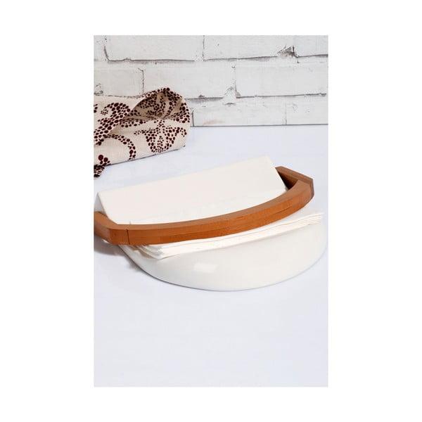 Porcelánový a bambusový držiak na obrúsky Kosova Joey, 21,5 × 20 × 4 cm