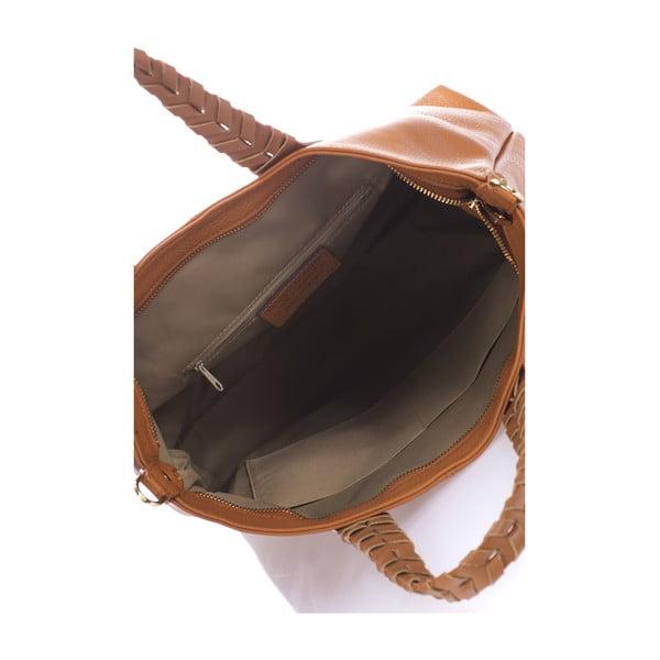 Koňakovohnedá kožená kabelka Lisa Minardi Elisa