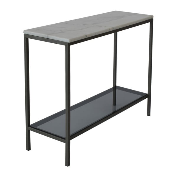 Mramorový konzolový stolík so sivou konštrukciou RGE Ascot , výška 75 cm