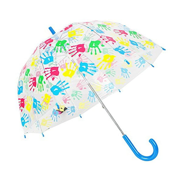 Detský transparentný dáždnik s modrou rukoväťou Hands Up