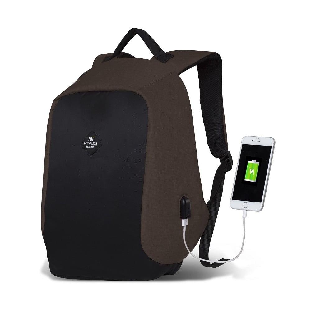 Tmavohnedo-čierny batoh s USB portom My Valice SECRET Smart Bag