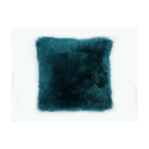 Modrý vlnený vankúš z ovčej kožušiny Auskin Gavyn, 35×35 cm