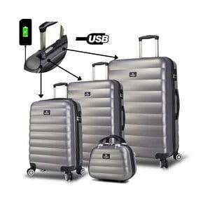 Sada 3 sivých cestovných kufrov na kolieskach s USB porty a príručného kufríka My Valice RESSO Travel Set