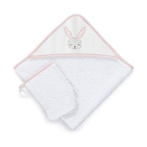 Set detskej osušky s kapucňou a rukavice na umývanie Tanuki Cute Rabbit, 75 × 75 cm
