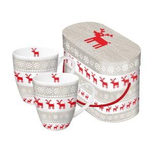 Sada 2 porcelánových hrnčekov s vianočným motívom v darčekovom balení PPD Magic Christmas Taupe, 350 ml