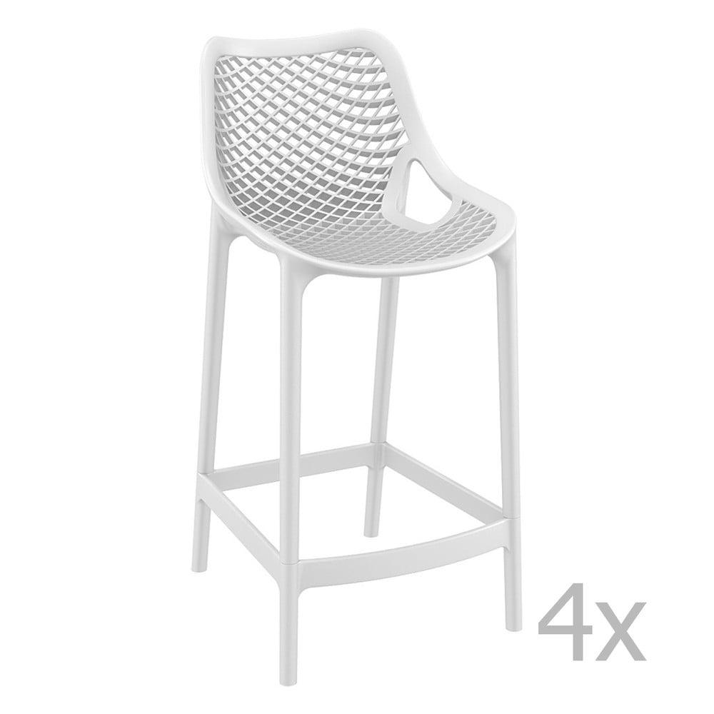 Sada 4 bielych barových stoličiek Resol Grid, výška 65 cm