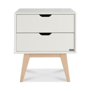 Biely ručne vyrobený nočný stolík s 2 zásuvkami z masívneho brezového dreva Kiteen Kolo