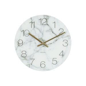 Biele hodiny Present Time Glass Marble, ⌀ 17 cm